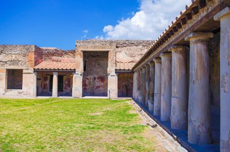 Pompeii, archeological site, Ancient ruins of died town, old house