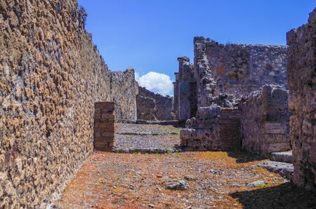 Pompeii, archeological site, Ancient ruins of dying town, empty street. 스톡 콘텐츠