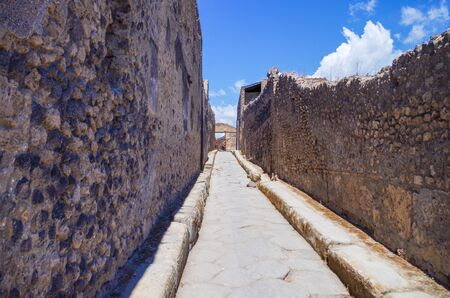 Pompeii, archeological site, Ancient ruins of died town, empty streets.