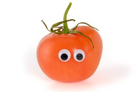 Googly eyes. Funny cute light red mister Fresh Tomato. Isolated on white background.