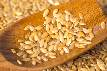 linseed: closeup golden flax seed or linseed Stock Photo