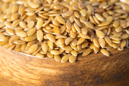 closeup golden flax seed or linseed Stok Fotoğraf
