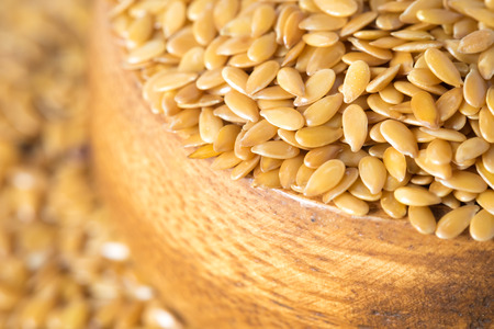 linum: closeup golden flax seed or linseed Stock Photo