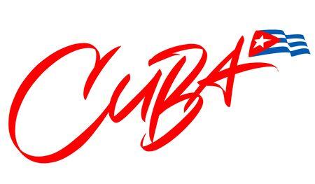 Cuba lettering design for t-shirt, mug, poster. Vector hand drawn inscription. Viva Cuba Libre. Viva Cuba. Apparel Print. Vetores