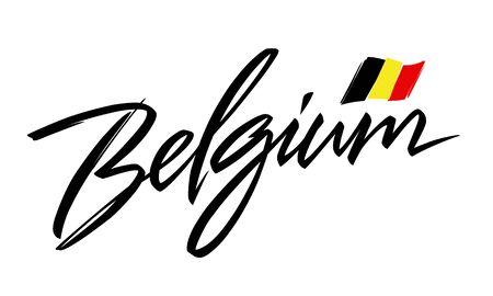 Belgium lettering design for t-shirt, mug, poster. Vector hand drawn inscription.  Apparel Print. België. Belgique. Belgien. Illustration