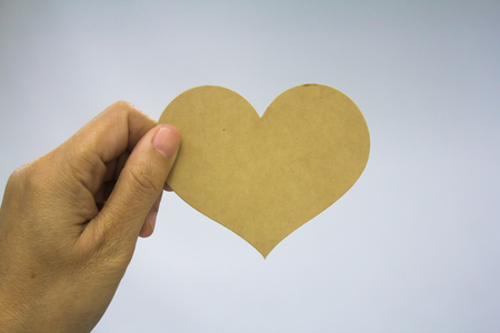 Brown paper heart. Archivio Fotografico