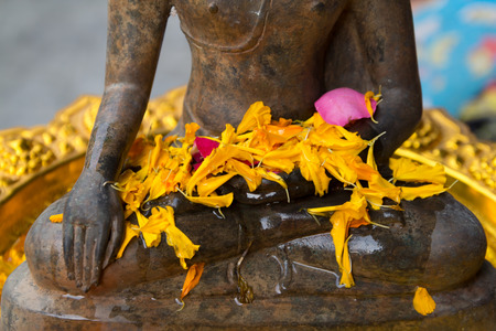 Old Buddha and flower petals on gold plated. Archivio Fotografico