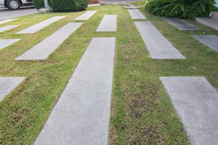 Walkway, cement pavement in the green garden, landscape design. Archivio Fotografico