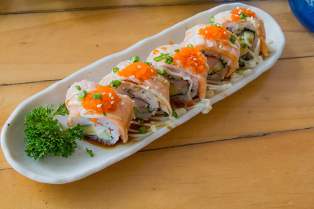 Rice and Vegetables Roll with Salmon.