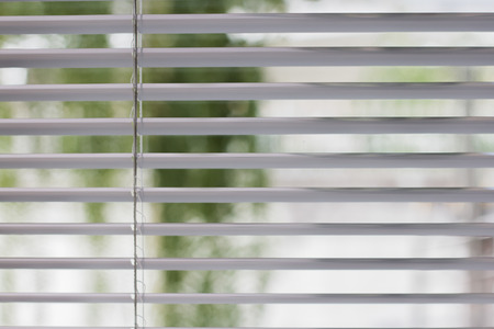 Closeup white jalousie,curtain, Louvers , shade or shutter background open slightly see the green color of trees blurred. Archivio Fotografico - 104550785