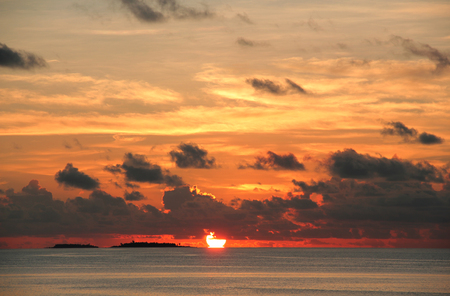 nature scenery: Nature scenery view of Maldives during the sunset Stock Photo