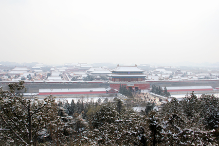 Landscape view of the palace after the snow