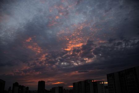 Dark cloud during sunset
