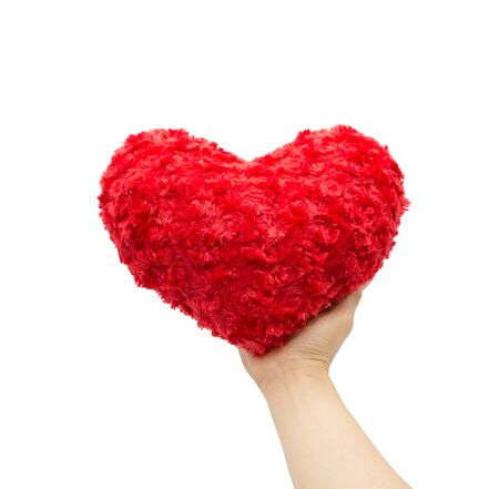 Soft red heart in hand isolated on white background for valentine's day