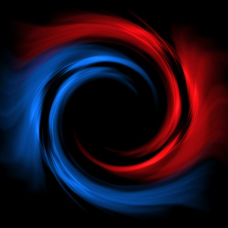 twister: Red-blue vortex on a black background. Abstract picture