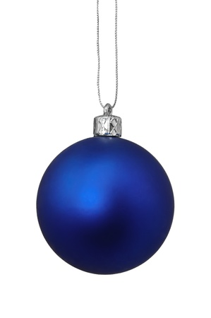hanging toy: Closeup image of blue Christmas toy, isolated on white background
