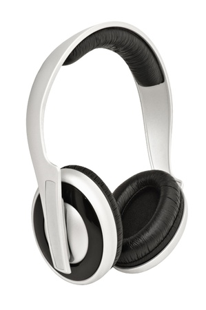 Closeup image of headphones, isolated on white background photo