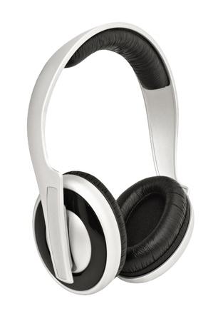 audifonos: Closeup imagen de auriculares, aislados en fondo blanco