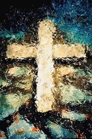 水の下で渡る。キリスト教の神聖なシンボル 写真素材