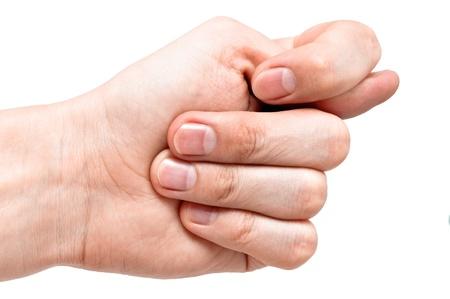 desprecio: Brazo haciendo fig, un gesto de desprecio. Aislados en fondo blanco