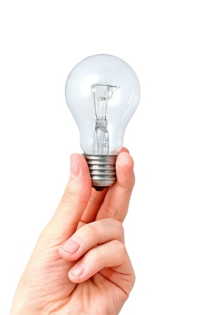 glower: Closeup image of arm holding light bulb. Isolated on white background