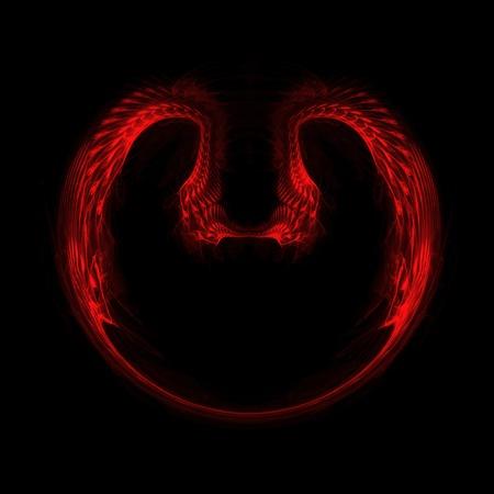 黒の背景に赤のフラクタル心。ゴシック様式の抽象的なイメージ