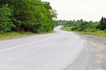 Landscape: asphalt road and grow photo