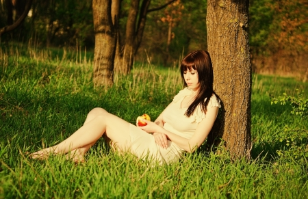 under tree: Beautiful young girl sleeping under the tree with apple in hands  Sunset time Stock Photo