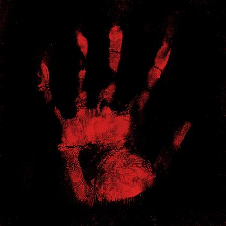 bloody hand print: Impresi�n Scary mano ensangrentada sobre un fondo negro Foto de archivo