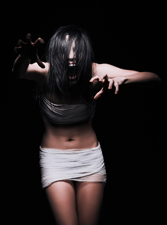 insane insanity: Horror shot: a scary screaming monster woman