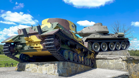 Monument to the Battle of the Dukel Pass. Stock Photo