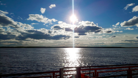 Ob river from ferry boat somewhere behaind of Ural in Russia.