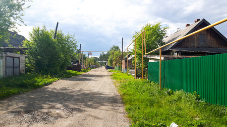 Pipeline above ground in a russian village, not dangerous for russian people.