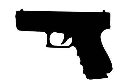 Realistic vector silhouette of gun with stack isolated on white background.  イラスト・ベクター素材