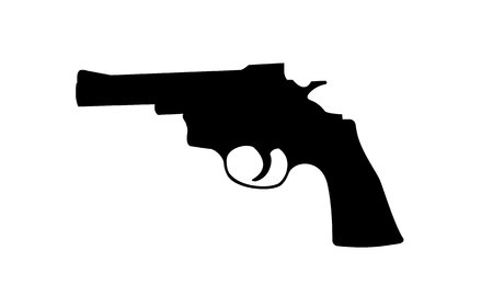 Realistic vector silhouette of revolver isolated on white background. Illustration