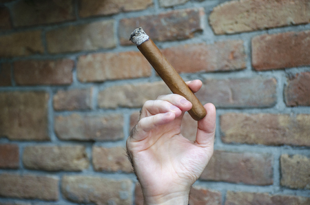 Hand keeps burning cigar with blurred wall in background.