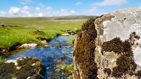 A view to English landscape with blurred backspace with brook stones under blue sky and clouds.