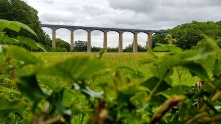 A view from bush at aqueduct under cloudy sky in England.
