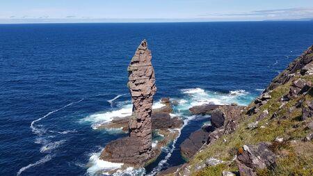 Rock Old Man of Stoer on coast of west Scotland.