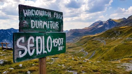 A view to Durmitor valley in Monte Negro under blue sky with clouds. Reklamní fotografie
