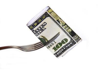 credit union: Eating 100 Dollar Stock Photo