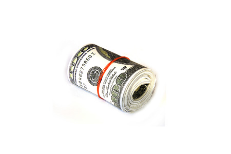 rolled up: Hundred dollar bills rolled up with rubberband