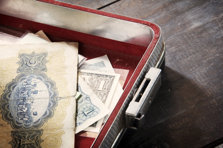 Old banknotes Briefcase photo