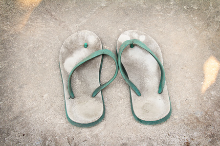 old white - green plastic sandals