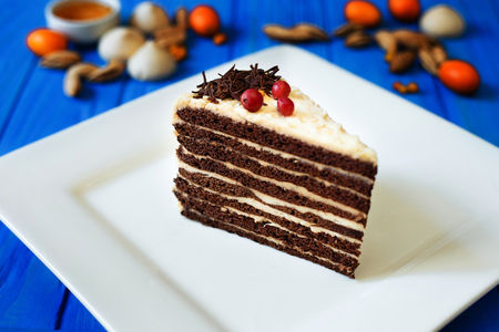 Piece of chocolate layered cake with butter cream