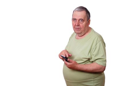 Portrait of senior man using apprehension on mobile phone, typin Stock Photo