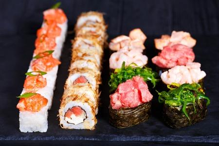 Delicious sushi set, luxury restaurant food. Set of pressed sush Stock Photo