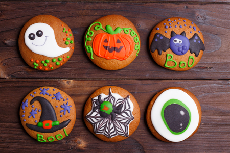 Halloween cookies set with funny decorations made of confectione