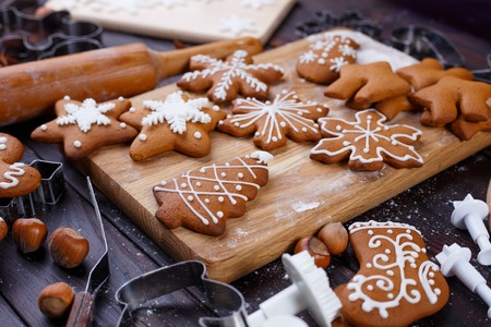 Christmas bakery. Homemade gingerbread cookies decorated with ic