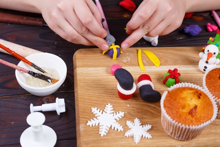 Process of making a gift box cupcake decoration of confectionery